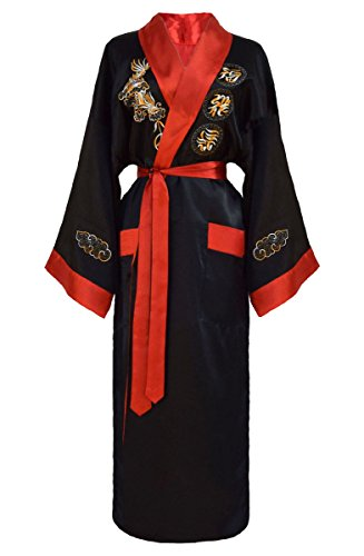 Kimono japonais réversible noir et rouge pour femme,Noir/Rouge,L