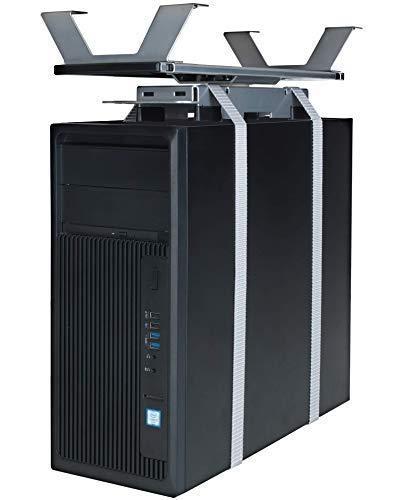 boho möbelwerkstatt Flexibler CPU-Halter, PC Halterung zur Montage unterhalb der Tischplatte ausziehbar sowie um 360 Grad drehbar in Alu/Grau
