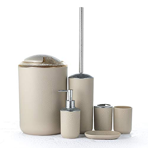 JOTOM Badset, Badezimmer Zubehör Set Badausstattung Sets mit Seifenschale Seifenspender Halter Zahnputzbecher Mülleimer Toilettenbürste WC Bürste (Beige)