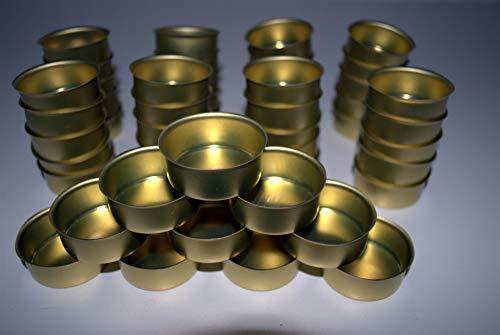 Naturdeko24 Teelichttüllen 40mm Gold 50er Set | Kerzentülle | Teelicht Tüllen für Standard Teelichtkerzen | Teelichthalter