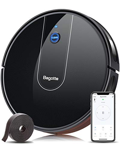 Bagotte WLAN Saugroboter mit Wischfunktion BG700(Slim), Starker 1600Pa Automatischer Staubsauger Roboter mit App & Alexa Steuerung, 6.9cm Schlank mit Magnetisches Band für Tierhaare, Teppiche, Fliesen