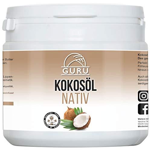 Guru Kokosöl nativ und naturrein -Bio Qualität- 1. Kaltpressung - Rohkost - Vegan - Bio-Kokosfett (PE-Dose, 500ml)