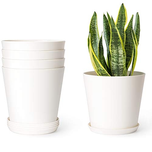 Mkono 5.5 Plastic Pots for Plants with Trays, Indoor Set of 5 Plastic Planters Modern Flower Plant Pot with Drainage Hole for All House Plants, Herbs, Flowers, and Seeding Nursery, Cream White
