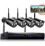 REIGY 3MP Kit Camara de Vigilancia WiFi Externo con Grabar Audio, Videovigilancia IP Inalámbrico 8CH NVR + 4X 1296P Cámara,Sistema de Seguridad CCTV Night Vision Impermeable Movimiento Alerta Sin HDD
