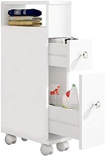 ease Mueble de baño con Ruedas con 2 cajones Carro de Almacenamiento de Cocina de Madera Mueble de baño 15 × 33 × 66.5 CM ...