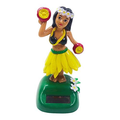 Amosfun Dashboard hula girl bobble head Solar Powered hawaiian hula shaking head dancing toy Figure doll for car interior Decorations ornament Style B Yellow