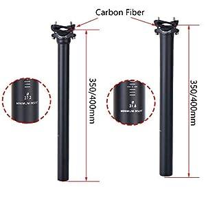 ELITA ONE Poste de Asiento de Fibra de Carbono no Logo 27.2 ud Poste de Sillín Matt Road Bike, Postes de Asiento MTB 31.6mm 300-400mm Súper Ligero 125g (Ø31.6*400mm, Offset 0°)