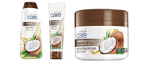 Avon Care de restauration de l'humidité avec de l'huile de noix de crème mains, 400 ml Lotion pour le corps, 100 ml et 100 ml Crème pour le visage