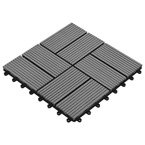 Decking Tiles Set of 11 WPC, Interlocking composite Tiles for Garden, Patio Balcony, Roof Terrace Flooring and Outdoor Deck Areas - 30x30cm (1m²) | Grey