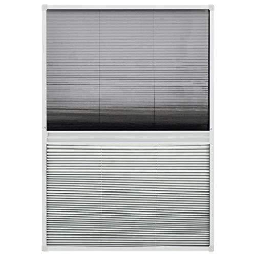 vidaXL Insektenschutz Plissee für Fenster Fliegengitter Dachfenster Mückenschutz Sonnenschutz Sichtschutz Aluminium 100x160cm mit Jalousie