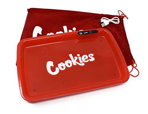 Cookies x GlowTray – Kit bandeja Rolling con LED de colores + Grinder Cookies y bolsa de terciopelo con logo (rojo)