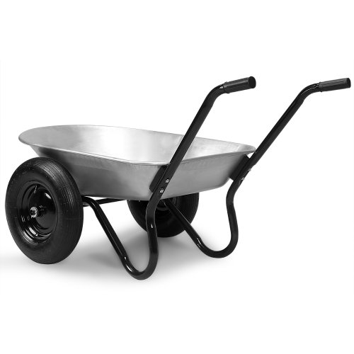 Deuba Monzana® Schubkarre 2Rad 150kg Bauschubkarre 100L Transportkarre Gartenkarre Baukarre | Stahlfelge | 2 Luftreifen | Autoventil | Kugellager - 3