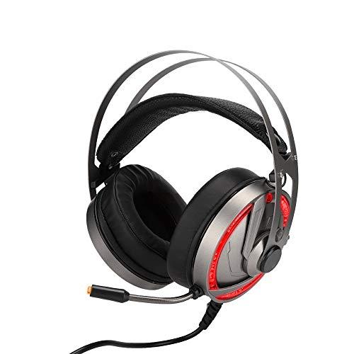 Ruisonderdrukkende bedrade headset, op het hoofd gemonteerde LED-headset met snoer met microfoon en flexibele PU-oorkussens Lichtgewicht voor op reis en op kantoor, laptop, telefoon - zwart