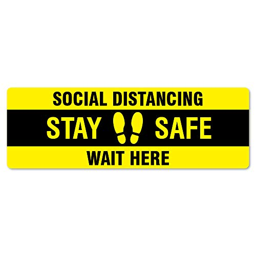 SignMission Coronavirus Stay Safe Wait Here Rectangle Non-Slip Floor Graphic 6' x 18' | 12 Pack of Vinyl Decal | Protect Your Business, Work Place & Customers | Made in The USA (FD-R-16-12PK-99985)