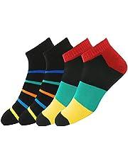 Maanja Men's Ankle Length Cotton & Polyester & Elastane Socks (Pack of 2)
