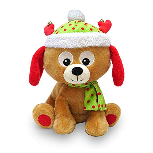 Cuddle Barn | Round and Round Walter 10 Animated Christmas Stuffed Animal Plush Toy | Fun Puppy Dog Dances in a Circle | Plays Jingle Bell Rock
