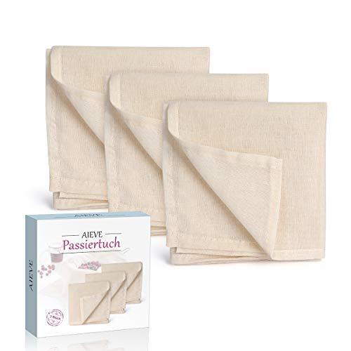 AIEVE 3 Stück Passiertuch Käsetuch Filtertuch Siebtuch Filter Cloth Knödeltuch 100% Baumwolle Tuch Tücher Set für Käse Beeren Nussmilch Suppe Obstsaft Joghurt Filtern Käseherstellung (50 x 50cm)