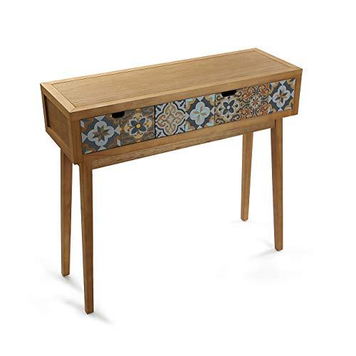 Versa Alfama Mueble Recibidor Estrecho para la Entrada o el Pasillo, Mesa Consola, con 2 cajones, Medidas (Al x L x An) 81,5 x 30 x 90 cm, Madera, Color Gris