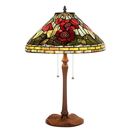 Tiffany D40CM X H64CM Lámpara de Escritorio de Estilo, Mesa de Cristal Tintada Clara con Canales, luz de Lectura de Dormitorio, Hotel