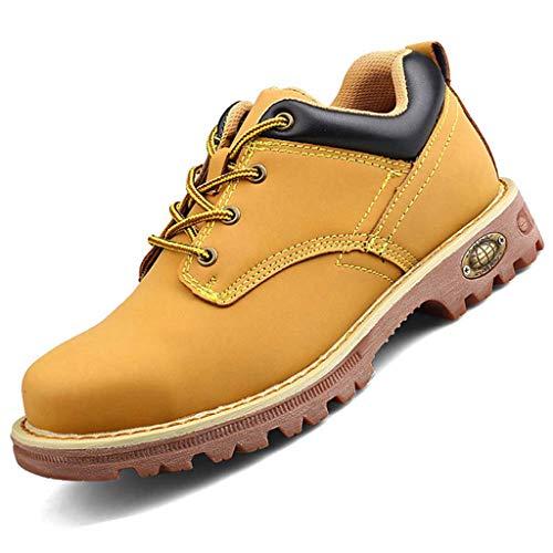 WQLESO Arbeitssicherheitsschuhe Herren atmungsaktive wasserdichte Stahlkappe Schuhe Leichte pannensichere BAU-Sicherheitsschuhe,Brown B- 45