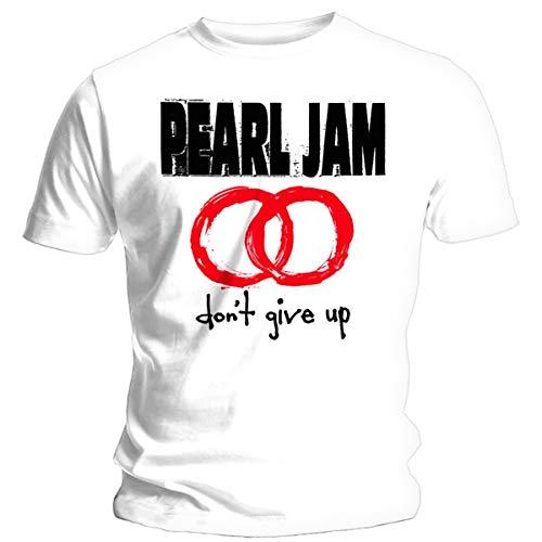 Pearl Jam Don't Give Up Hombre Camiseta Blanco L, 100% algodón, Regular