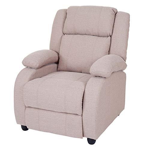 Mendler Fernsehsessel Lincoln, Relaxsessel Liege Sessel, Stoff/Textil - Creme-grau