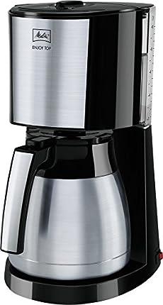 Melitta Cafetera de filtro con jarra isotérmica de acero inoxidable, Selector de aroma, Enjoy Top Therm, Negro/Acero inoxidable mate, 1017-08