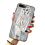 Owl Case for iPhone 8 Plus & iPhone 7 Plus, Cute White Owl Perch On Tree Branch Case for Girls/Women Flexible Silicone Shockproof Drop Protection Case for iPhone 7/8 Plus 5.5 inch