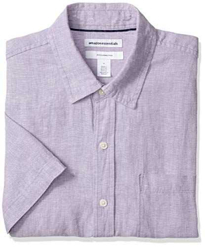 Amazon Essentials Men's Slim-Fit Short-Sleeve Linen Shirt, Lavender, Medium