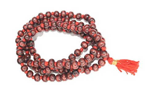 IS4A 8mm Red ( Rosewood ) Wood Japa Mala Beads Necklace Beads 108 + 1 Hand Knotted Meditation Prayer