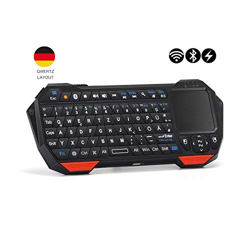 seenda DE Layout Mini Bluetooth Tastatur mit Touchpad , kabellose beleuchtete Tastatur für Smart TV Fernbedienung, Smartphones, Laptop, Tablets, PS4 usw.
