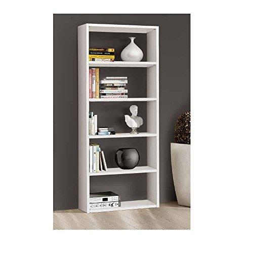 Giò Luxury Libreria Bianco Frassinato, Stile Moderno, In Mdf Laminato - Mis. 89 X 30 X 218