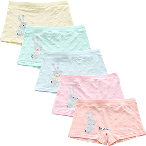 Chic-Chic Lot de 5 Shorty Boxer Bébé Fille Fillette Couleur Unie Motif Imprimé Lapin sous-Vêtements Enfants Ultra Doux et Confortable