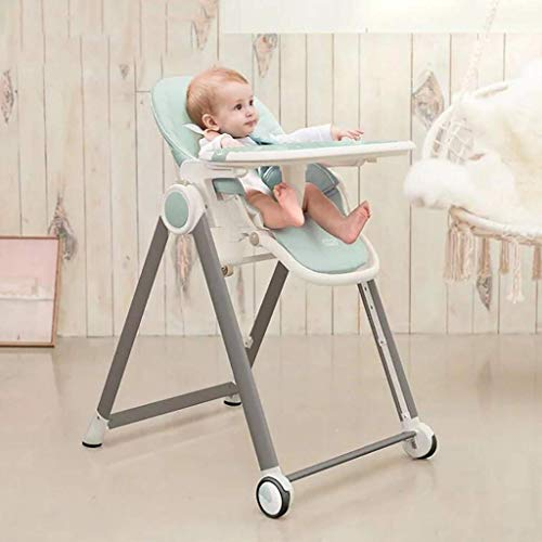 JGWJJ Trona de Cuero Suave, Totalmente Ajustable, Trona para bebé, Silla de alimentación para niños Trona de Cuero Suave y compacta