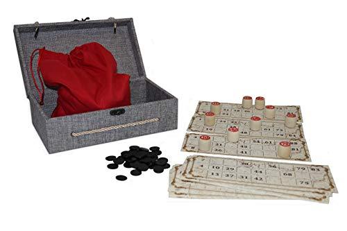 rukauf Lottospiel Russisches Lotto (Loto) Spielset im Stoff-Holzkasten mit Holzfiguren Bingospiel Familienspiel