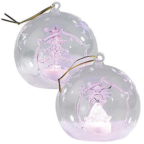 Lunartec Christbaumkugeln: Mundgeblasene LED-Glas-Ornamente in Kugelform, 2er-Set (LED Kugeln)