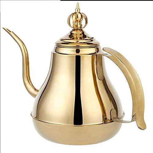 KSW_KKW Bouilloire en Acier Inoxydable 304, thé Kung Fu, Bouilloire, théière, théière, Bouilloire for cuisinière à Induction, marmite Simple, Bouilloire 1,8L (Color : Gold)