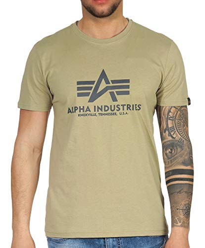Alpha Industries T-Shirt Basic schwarz weiß blau braun grün Olive Burgundy gelb (M, Light Olive)