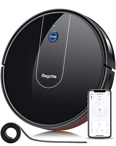 Bagotte Saugroboter mit Wischfunktion, 3-in-1 Staubsauger Roboter mit 1600Pa Stake Sog, Alexa & Google Assistant Steuerung, 100 Min Laufzeit, mit Magnetisches Band für Tierhaare, Teppiche, Fliesen