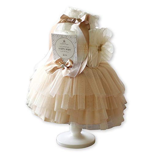出産祝い おむつケーキ 女の子 かわいい チュチュスカート ヘアバンド ベビーソックス おしゃれ エレガント ベビーシャワー ベビーギフト ドレス [チュチュ付き オムツケーキ ]パンパースS (ミルキーアイボリー)