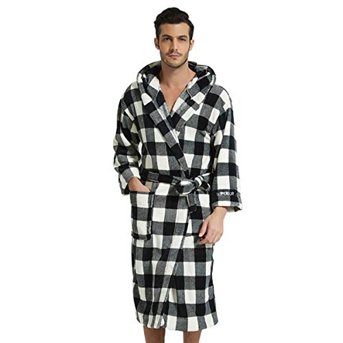 LZJDS Camisón Albornoces Bata Pijamas para Hombres Y Mujeres Pijamas Coral Polar Camisón Suave Bata Bata De Casa Ropa De Dormir para Parejas Vestido De Mañana,Men,XL