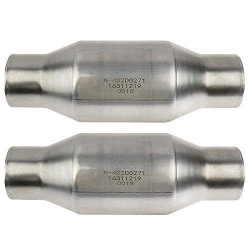 """MAYASAF【2 pack】2.5"""" Inlet/Outlet Universal Catalytic Converter, with O2 Port (EPA Compliant), 2 pack"""