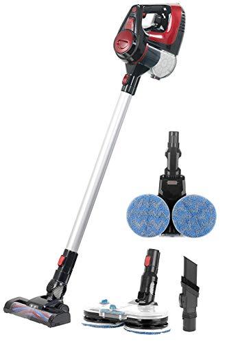 Sichler Haushaltsgeräte Akustaubsauger: 2in1-Akku-Staubsauger- und-Fußbodenpoliermaschine mit Sprühfunktion (Akkustaubsauger)