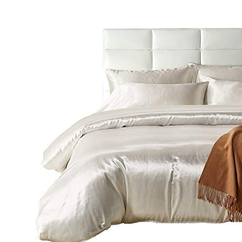 HOTNIU Funda nordica saten - Juego de funda de edredón de seda satinado - Funda nordica 135*200 cm con 1 Fundas de Almohada 50*75cm - Juego de ropa de cama de satén de cremallera microfibra, Blanco