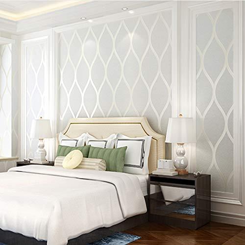 qunxun Europäischen Stil Tv Hintergrund Tapeten Wohnkultur Moderne Wellenmuster 3D Atmungsaktive Vliestapete Für Wohnzimmer Schlafzimmer Cremeweiß10m*0.53m