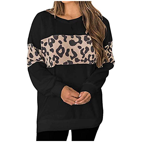 Moda para Mujer Sudadera de Manga Larga Camiseta con Estampado de Leopardo Blusa Elegante Informal Tops