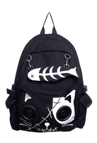 Banned Rucksack weiß Skele Kitty Schultasche Speaker Bag