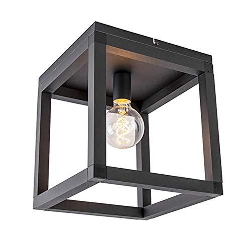 QAZQA Industriële plafondlamp zwart - Big Cage 2 Aluminium/Staal Vierkant Geschikt voor LED Max. 1 x 60 Watt