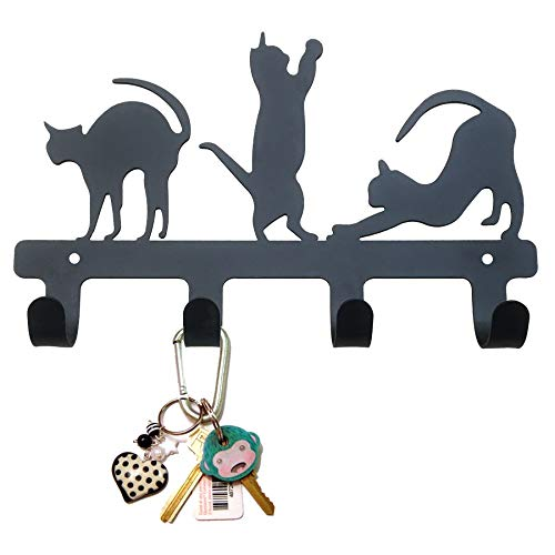 PandS Key Holder for Wall - Black Cat Decorative - Door Hooks for Hanging Dog Leash - Door Hanger Towel Rack【2 Ways, Wall Mounted + Adhesive Screws Provided】