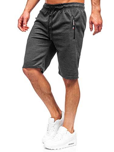 BOLF Herren Kurze Sporthose Shorts Bermudas Trainingshose Fußballhose Fitnesshose Short Hose Sweathose Stretch Freizeithose Street Style JX130 Schwarz L [7G7]